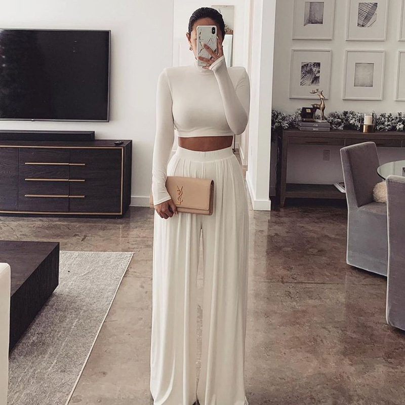 European And American Fashion Solid Color Navel Exposed Long Sleeve Jacket Wide Leg Pants Two Piece Suit