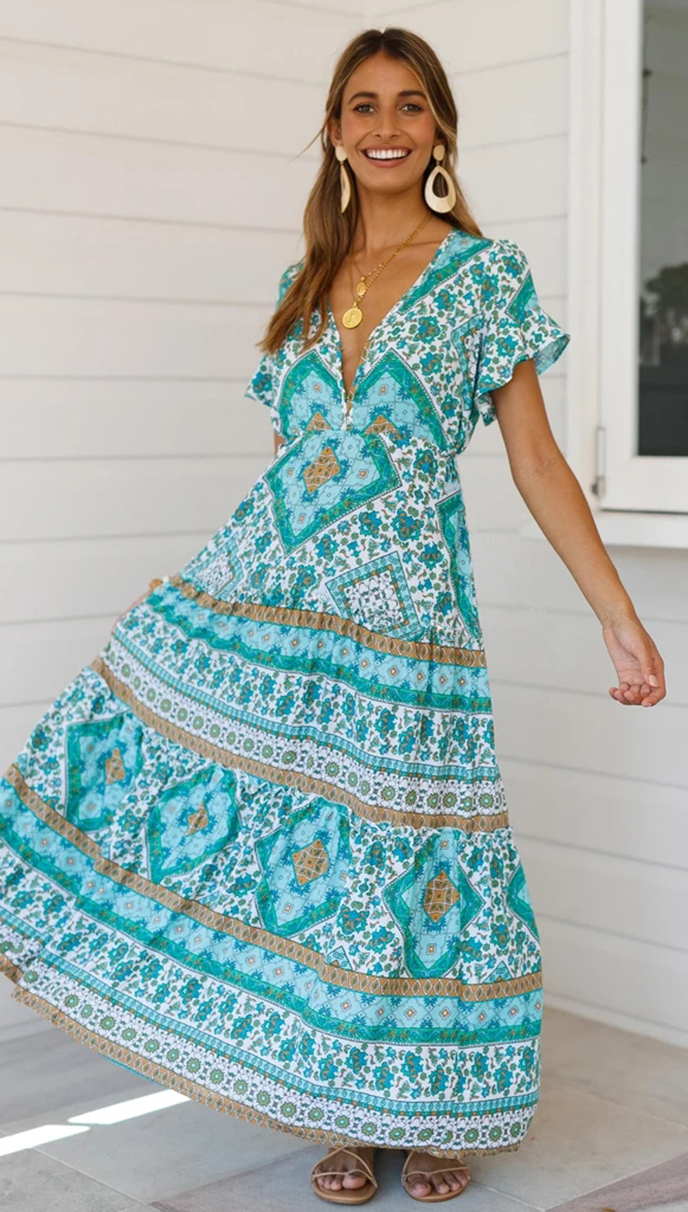 spring and summer new bohemian vintage print cuff stitching ruffled v-neck dress NSDF512