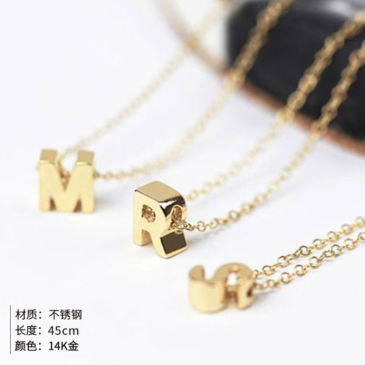 Fashion hot sale simple 26 letter 316L titanium steel gold-plated necklace NHTF245925