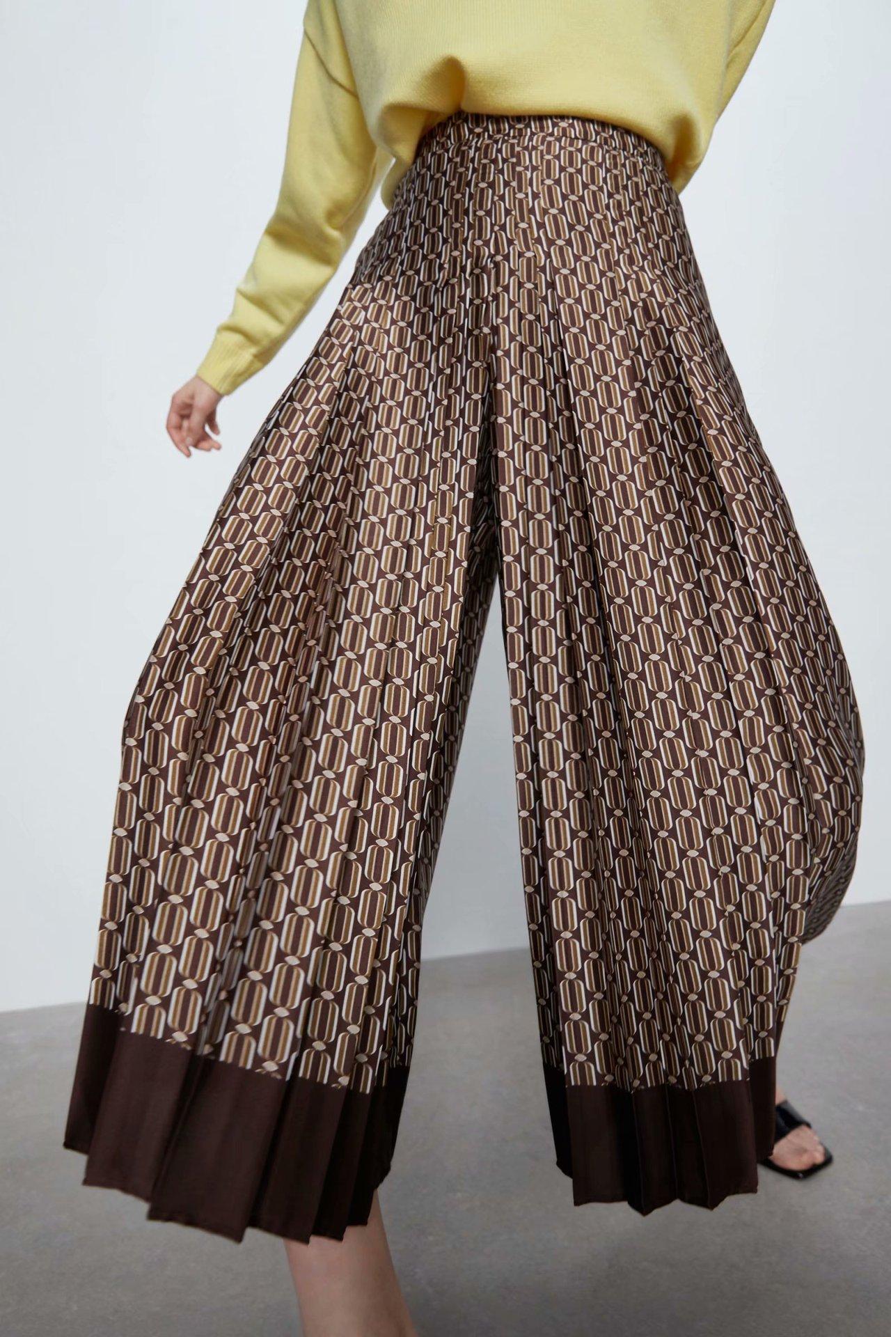 Wholesale New Fashion Spring Print Wide Leg Pants Women's Straight Pants Casual Pants NHAM201601