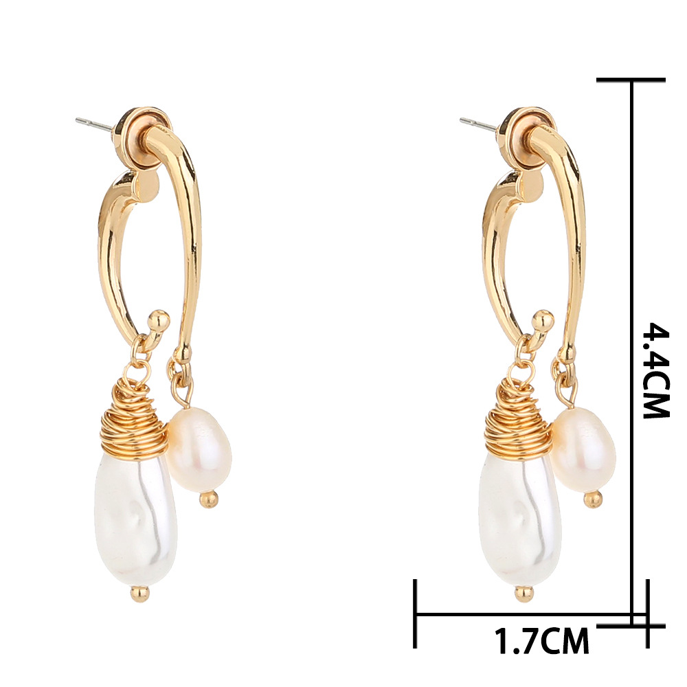 new hot-selling winding baroque pearl elegant fashion natural freshwater rice bead earrings NHAN269432