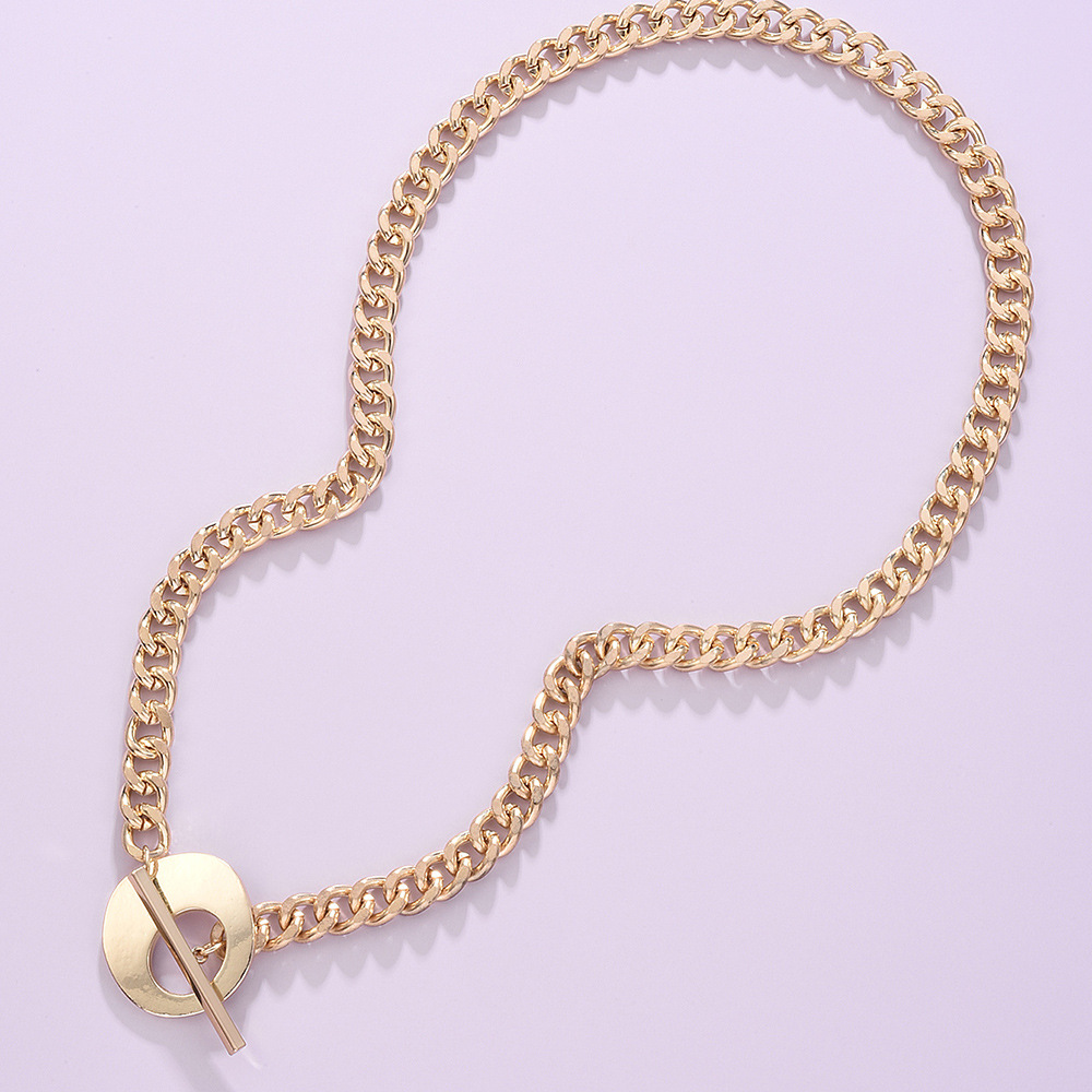 fashion trend jewelry punk necklace simple metal texture necklace wholesale nihaojewelry  NHMD225390