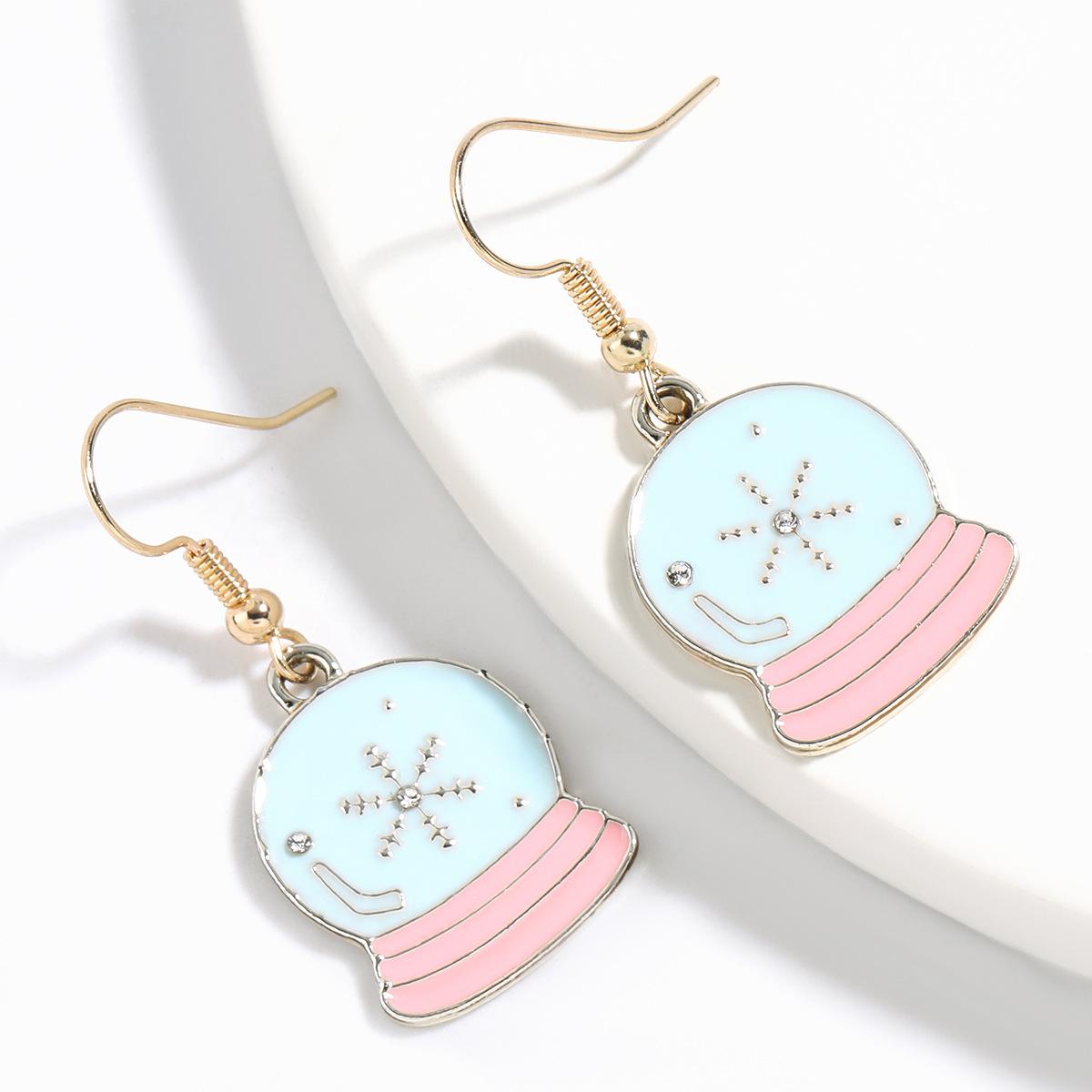 Christmas series drop oil crystal ball fashion  Eve alloy earrings NHJE261049