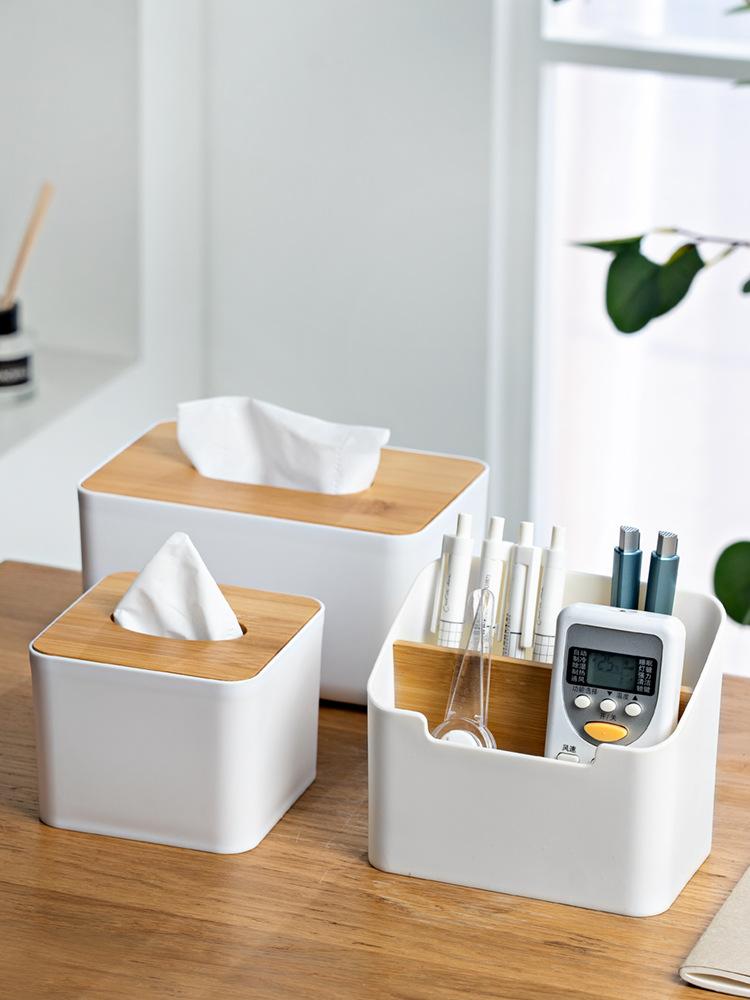 简约竹木纸巾盒家用客厅厨房抽纸盒办公室客厅收纳盒可定制印logo