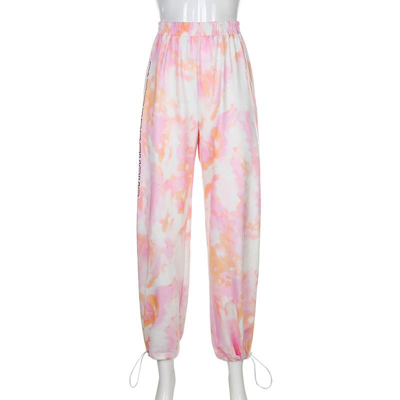 fashion tie-dye pink letter printing sweatpants NSLQ13203