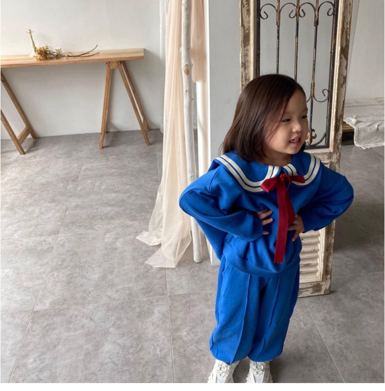 2020秋冬儿童加绒卫衣套装 儿童海军服套装韩版女童抓绒卫衣套装