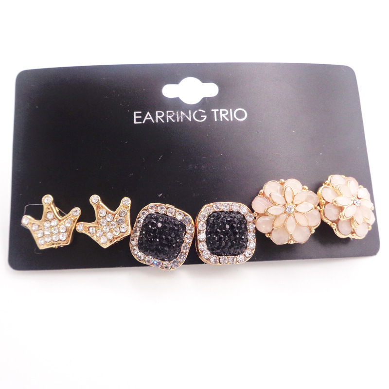 New fashion set with rhinestone flowers and pearl earrings 6 pieces set wholesale NHDM207742