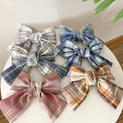 Hair clip hairpin for women girls hair accessories Brandyjk uniform with plaid hairpin spring clip bow hairpin