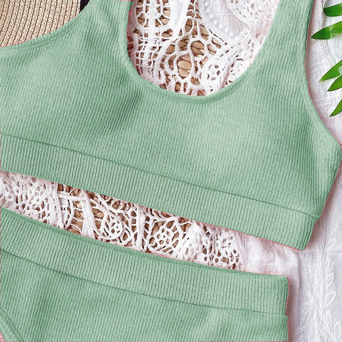 new bikini knit high waist swimsuit ladies split swimwear WHOLESALE NSDA178