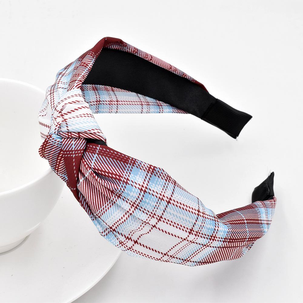 New girl lattice headband girls fabric knotted plaid headband wholesale NHCL249833