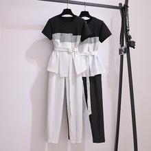 2020夏裝新款大碼女裝顯瘦收腰洋氣兩件套胖MM氣質條紋套裝女