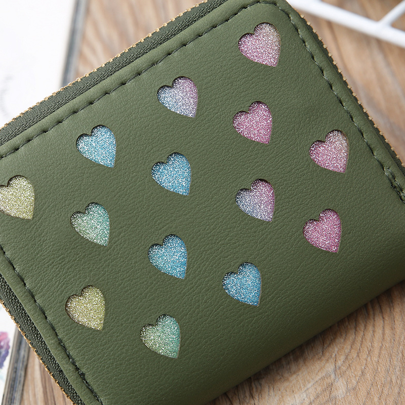 Korean hollow glitter heart coin purse  NHLAN337370