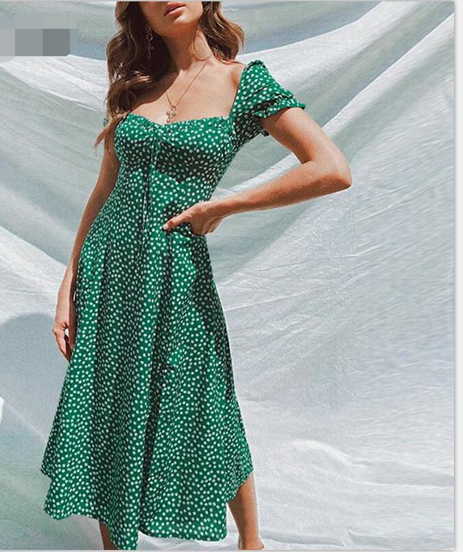 summer new fashion printed off-the-shoulder casual dress wholesale NSYF1087