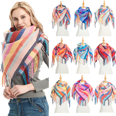 Loop yarn striped Plaid polyester long tassel quilted scarf scarf for women and men neck shawl