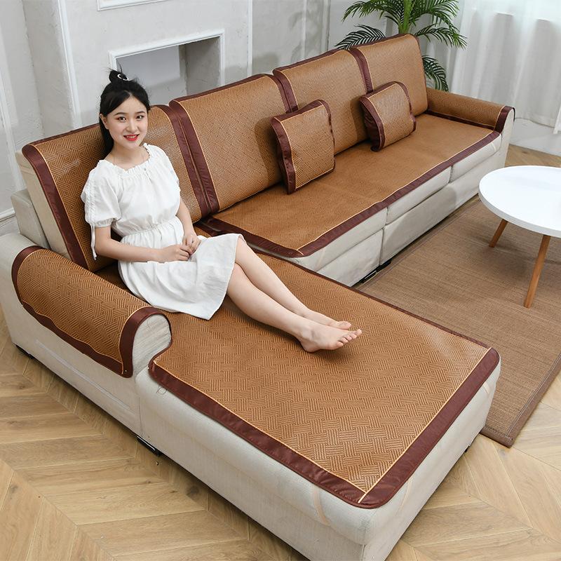 沙发垫夏季凉席防滑藤席坐垫套罩子沙发巾全包盖四季通用中式简约