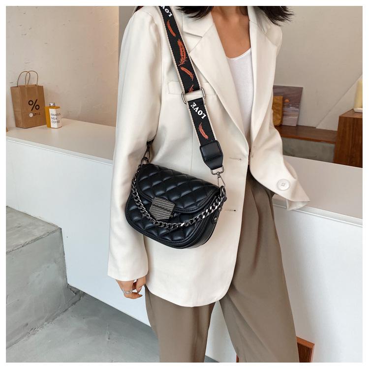 Lingge ladies small new trendy fashion wide shoulder strap wild single shoulder messenger saddle bag NHLH253735