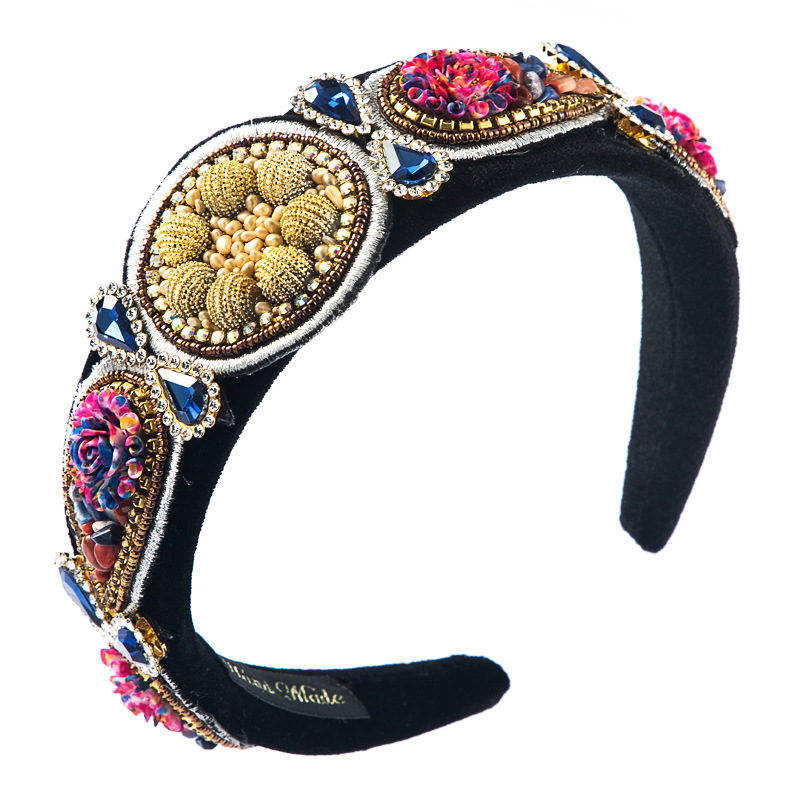 korean  creative exaggerated  exquisite hair accessories studded with diamond wide-brimmed color flower headband female baroque garland headband NHLN216126