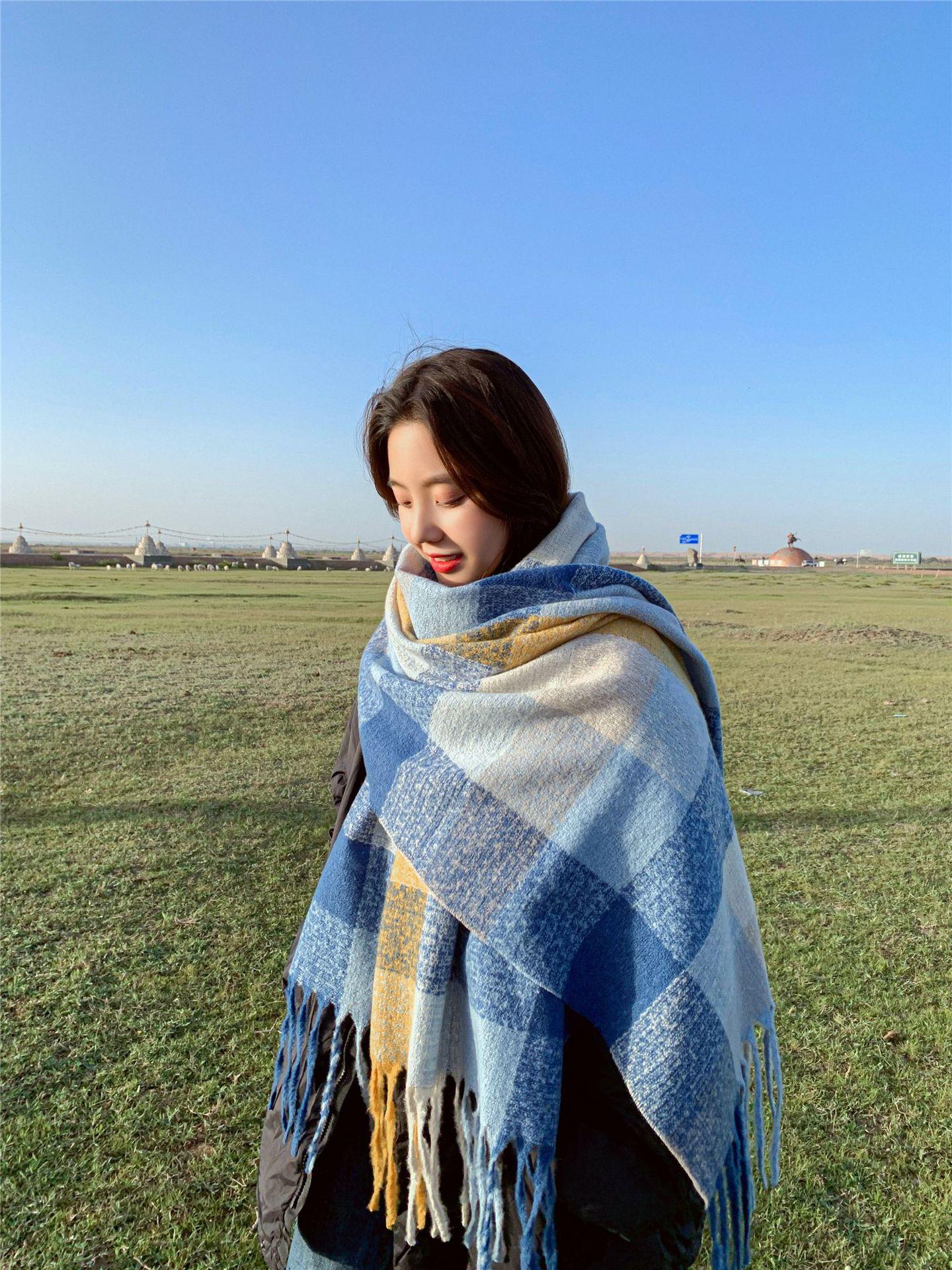 Korean  wild  thickening warm long shawl scarf NHCM269378