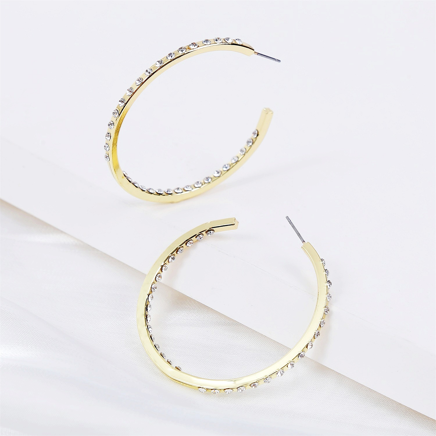 gold cshaped diamond simple fashion retro earrings NHJJ272330