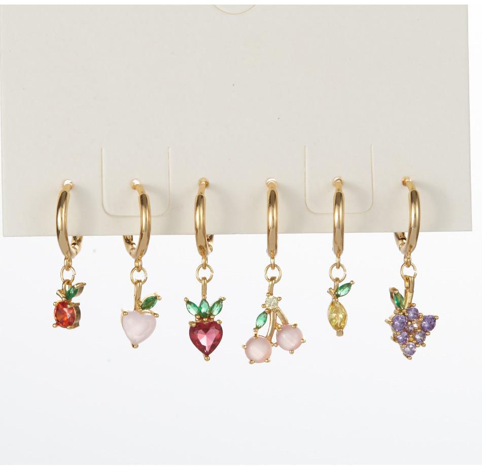 wholesale jewelry color zirconium grape cherry pineapple fruit copper earrings Nihaojewelry NHUW384830