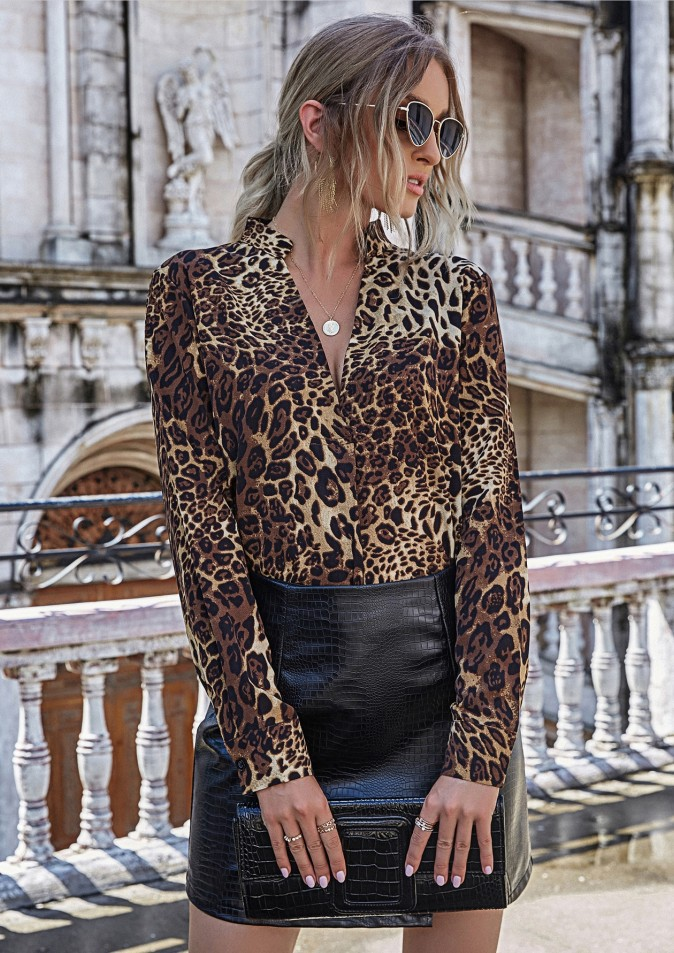 women's clothing hot sale autumn and winter new deep V long sleeve leopard print loose shirt  NSYD3816