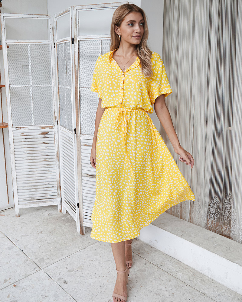 fashion women's summer polka dot short sleeve dress shirt collar skirt wholesale NSKA293