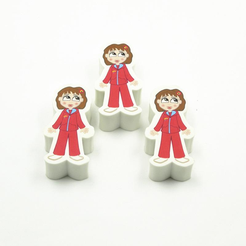 厂家生产定做白色异型橡皮擦 出口日本优质可爱小女孩印刷橡皮