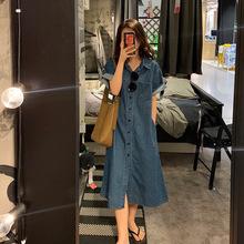 复古牛仔连衣裙2021夏季新款时尚气质收腰遮肉显瘦中长款气质裙子