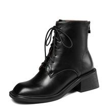亞馬遜外貿大碼馬丁靴女方頭短靴系帶拉鏈街頭女靴子 ankle boots