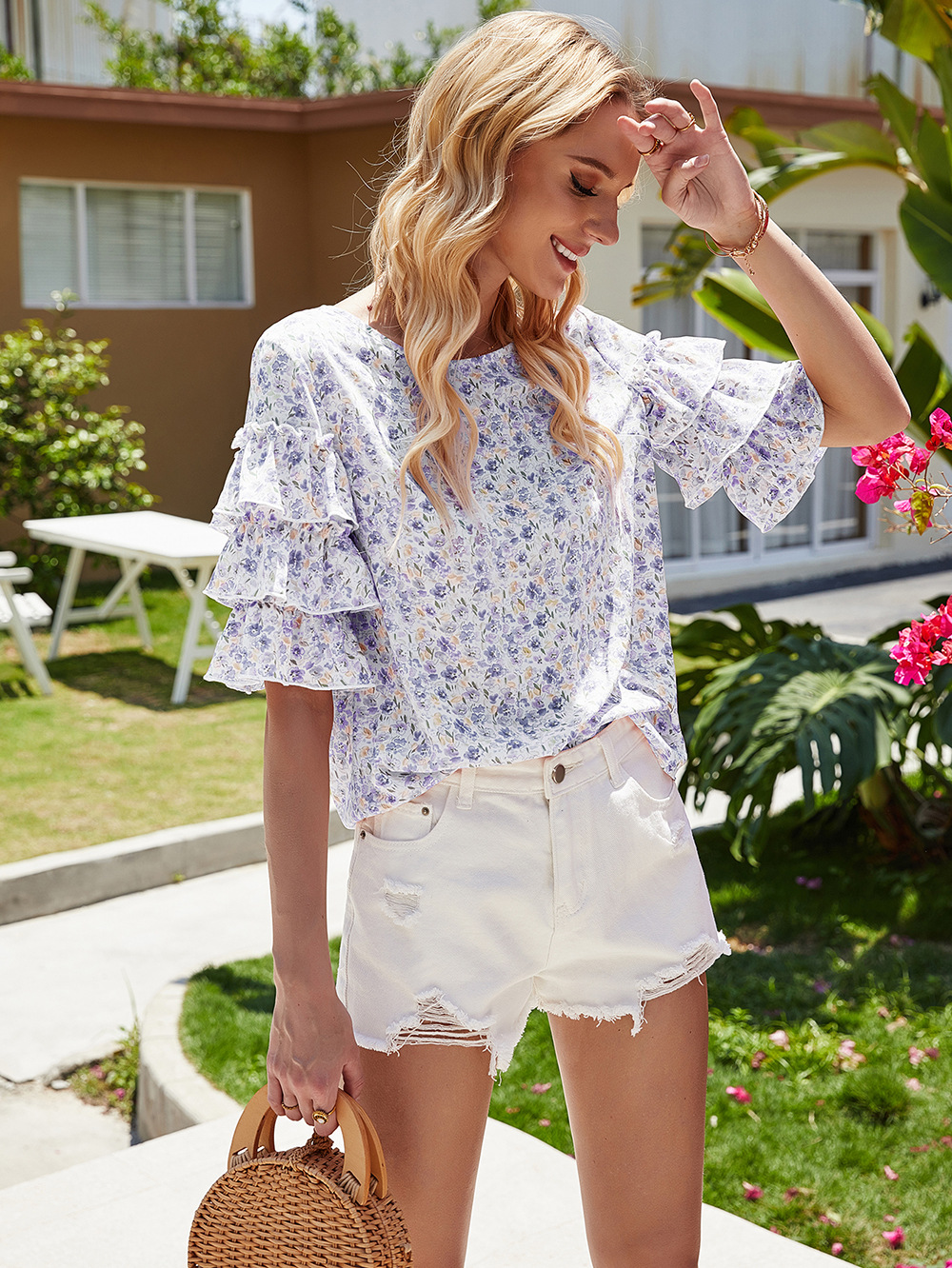 summer new women's small floral blouse shirt trumpet sleeves fashionable all-match shirt NSDF407
