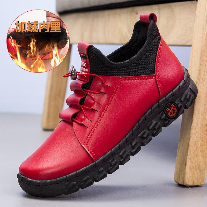 女士秋冬新款女鞋加绒保暖增高鞋软面舒适大码PU休闲鞋加厚女棉鞋