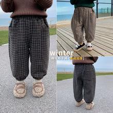风之谷2020冬季新款童装男童裤子秋冬加厚宽松儿童加绒灯笼裤格子