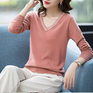 2020 autumn and winter 2020 new V-neck thin sweater bottoming shirt sweetheart neck knit top