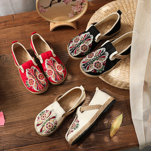 Tai chi kung fu shoes for women women flat bottom low top breathable embroidered shoes national round head for women