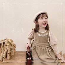 童裝女童裙子2020新款潮兒童刺繡背帶裙春秋裝洋氣連衣裙