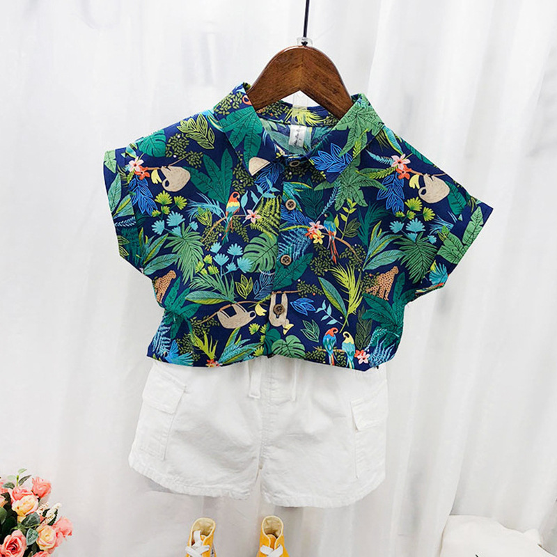Children's Shirts Children's Floral Tops Short-Sleeved Boys' Summer Vacation Style Shirts