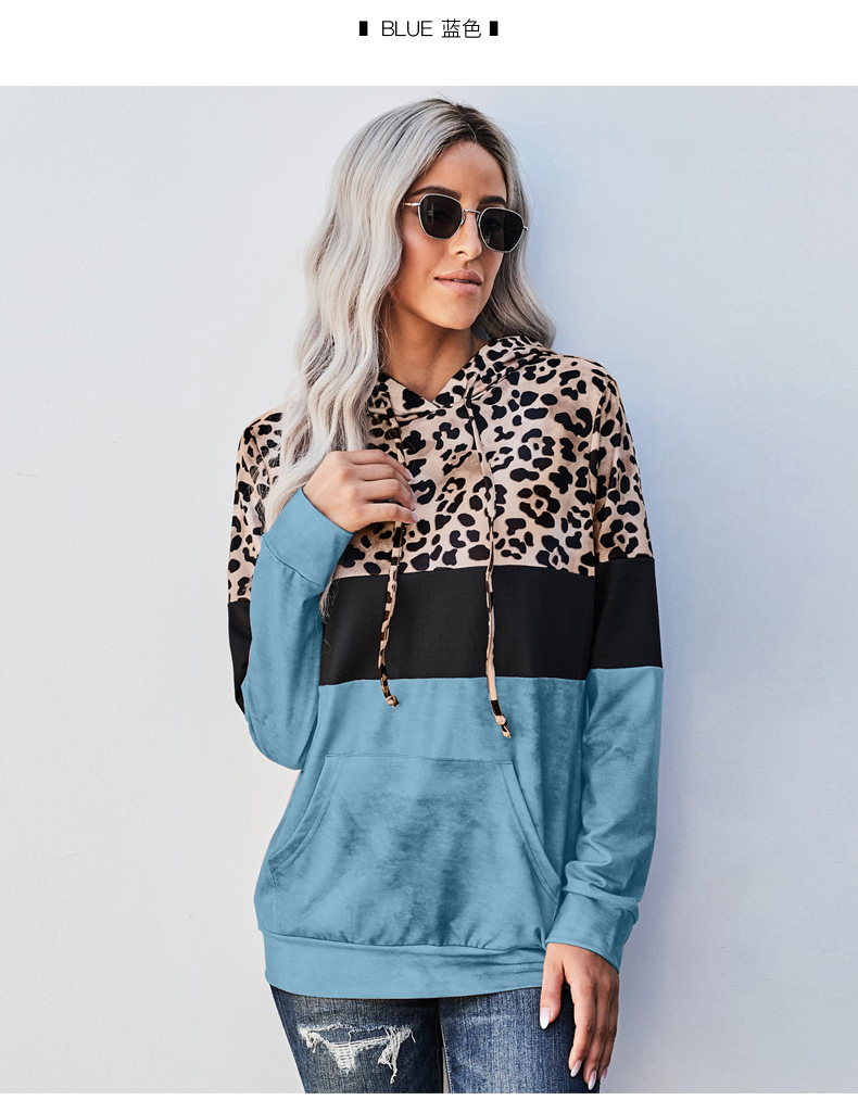 Hooded Long Sleeve Autumn Stitching Leopard Print Round Neck Pullover Women's Sweatershirt NSSI2399
