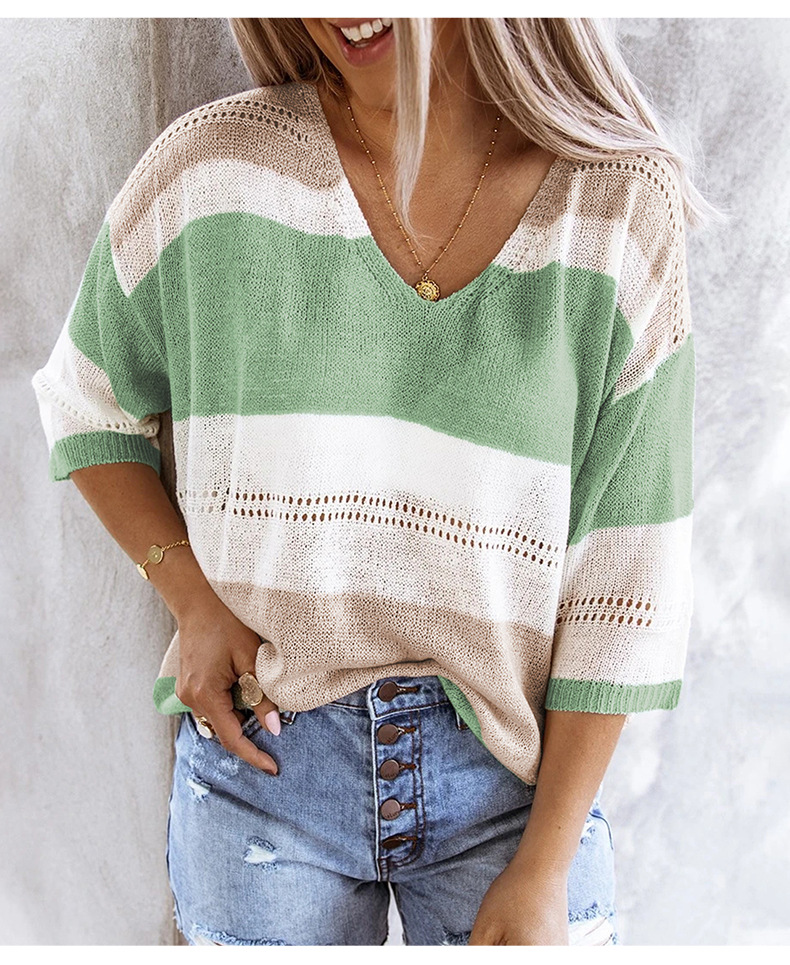 color sweater women new loose nine-point sleeve women's sweater  NSSI3481