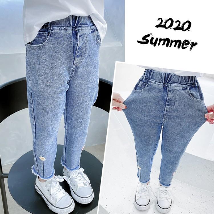 童牛仔裤 2020秋季新款女童中小童韩版洋气淑女款脚口小花牛仔裤