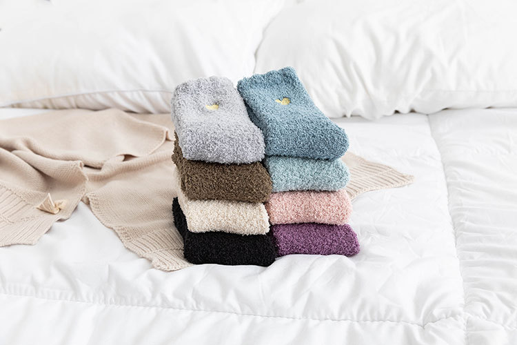 Autumn and winter solid color coral fleece tube women's socks  NSFN9365