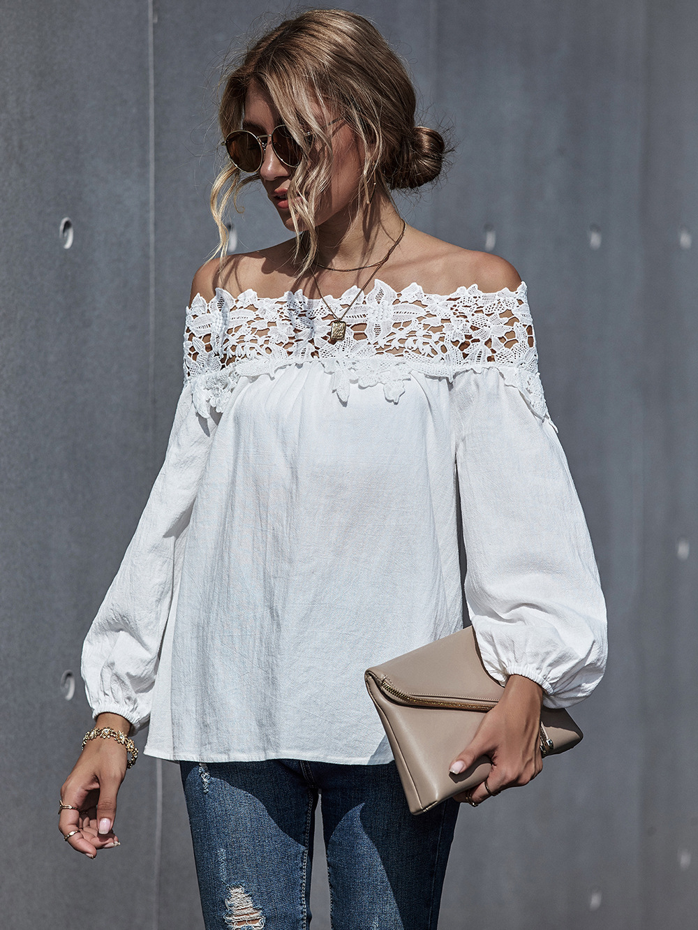 autumn and winter new women's lace stitching sexy one-shoulder puff sleeve blouse NSDF339