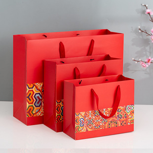 Chinese style new year red print widened rope gift bag return gift portable paper bag