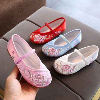 Children Beijing hanfu shoes fairy princess drama cospaly Girls embroidered shoes Baby handmade ancient classical dance shoes