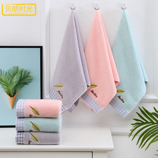 Plain embroidered cotton towel, soft and absorbent couple face towel, simple leaf face towel, gift towel, custom logo