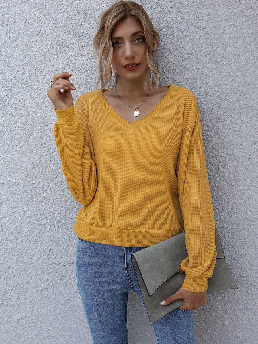 autumn and winter new solid color round neck loose casual women's long sleeves NSAL2090
