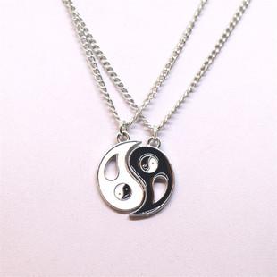 Wish Amazon AliExpress best friends stitching necklace Tai Chi gossip yin and yang pendant couple necklace