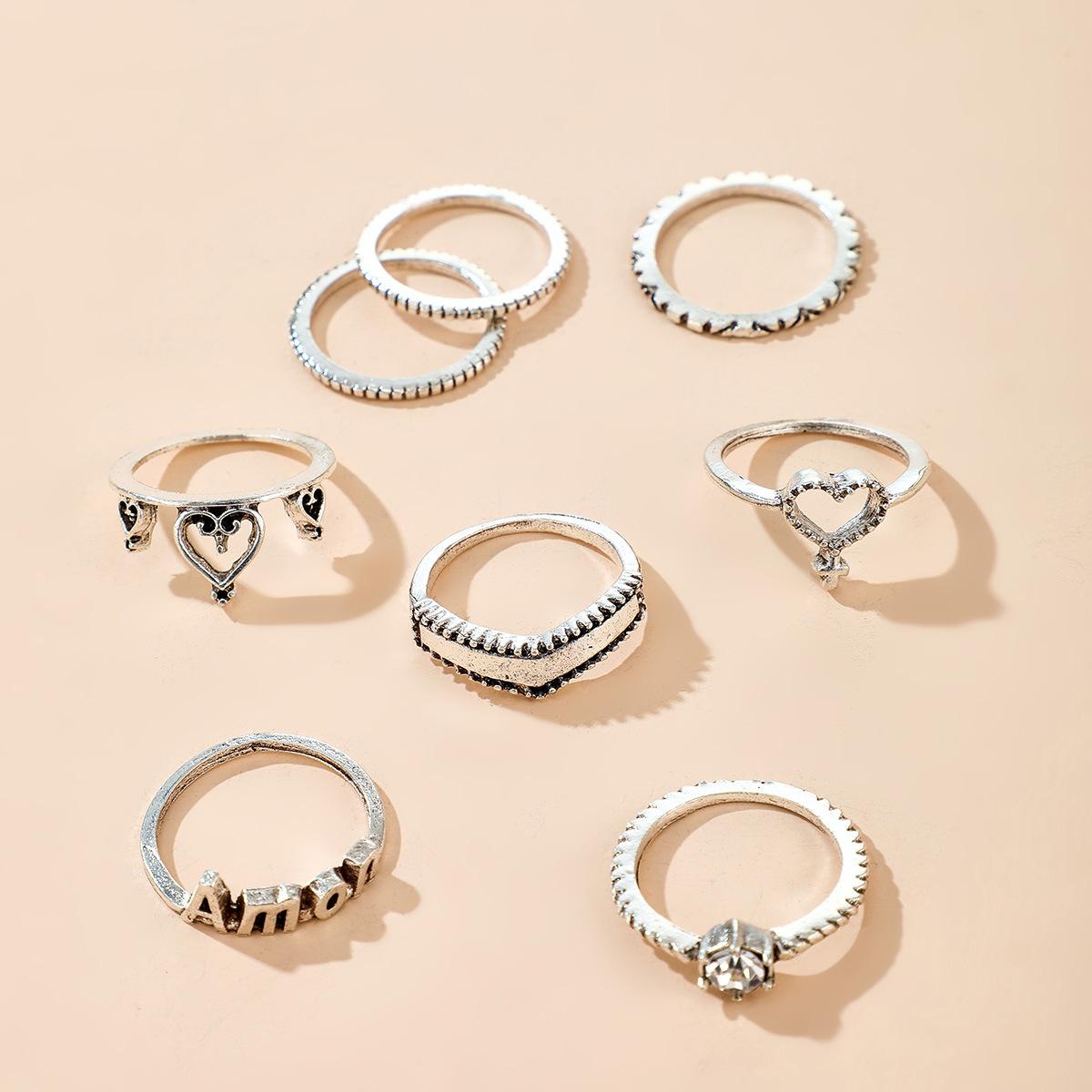 Bohemian creative diamond joint ring set yiwu nihaojewelry wholesale retro hollow hollow letter love ring set NHGY213892