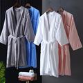 酒店纯棉浴袍毛巾料睡袍男女浴衣加厚睡衣粉红色灰色蓝色割绒长款
