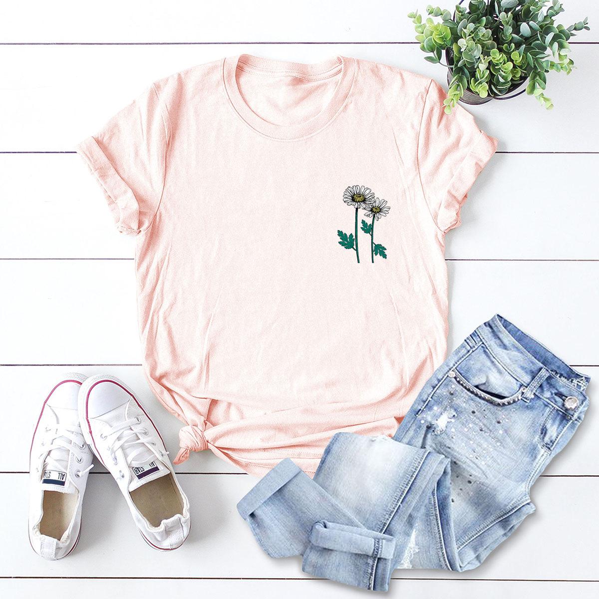 small daisy cotton short-sleeved t-shirt women NSSN2704