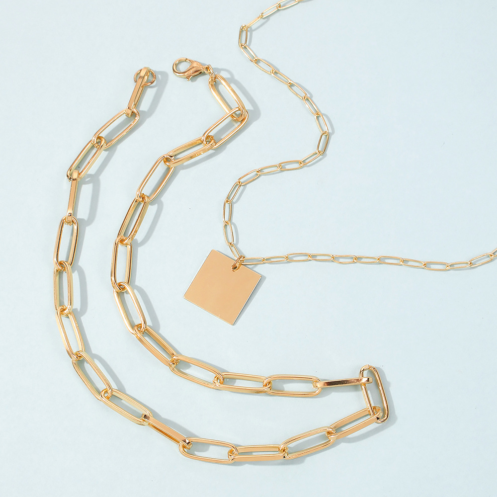 Thick Chain Retro Square Metal Exquisite Necklace NHMD289308